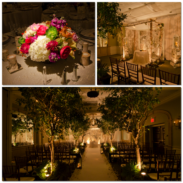 Birch wedding decor by Eggsotic Events, including floral centerpieces, a birch chuppah, a birch wall, live trees, and lighting.