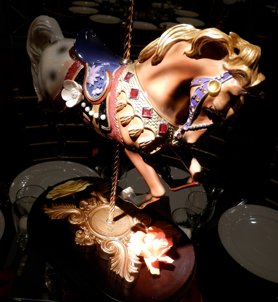 A gorgeous carousel horse statue represented the iconic Central Park Carousel.