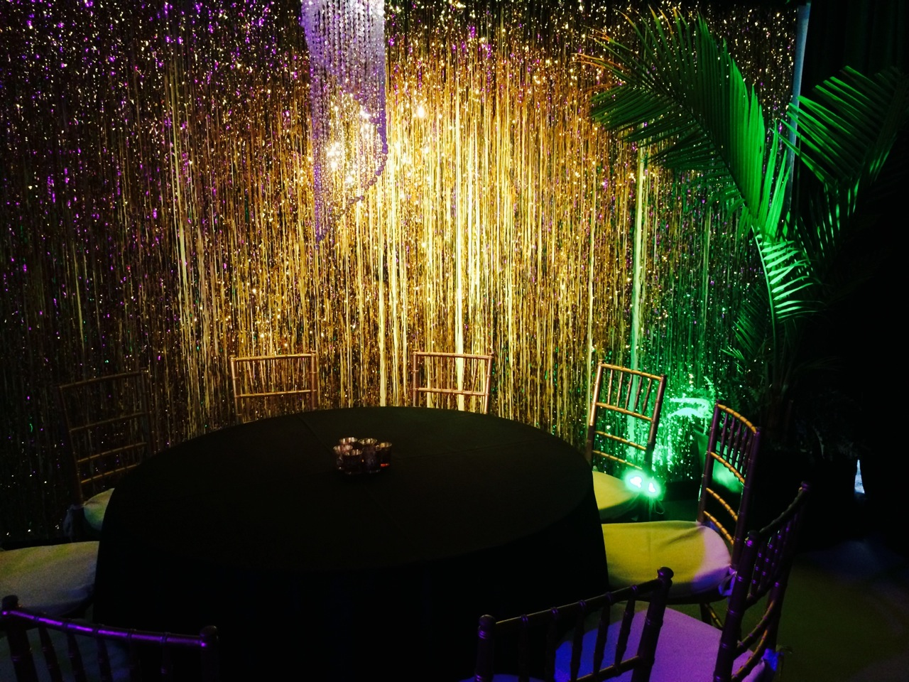 Metallic fringe draping, shown here in gold, is also available in many other colors and heights. It's perfect for a photo backdrop. It is displayed using our freestanding support hardware, so nothing is attached to the venue's walls or ceilings.