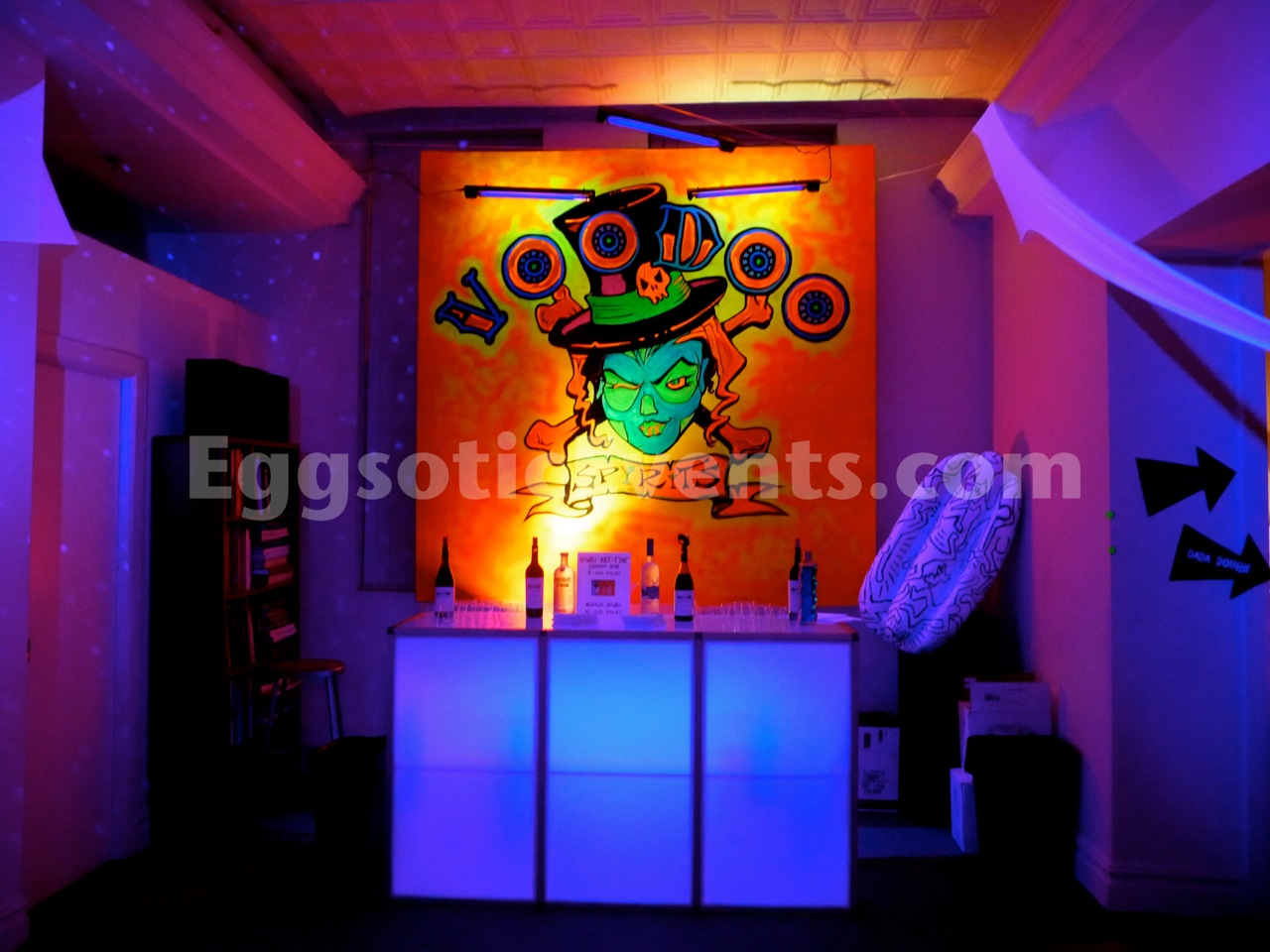 Bar Rental NJ NYC Eggsotic Events Black Light UV Glow Party Bar with Artwork Voodoo Spirits 2.jpg