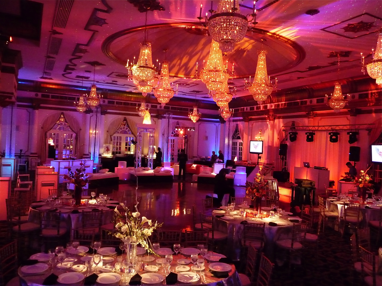 Fire and Ice decor and lighting by Eggsotic Events • Crystal Plaza, Livingston NJ  • Photography by Egil Matiss