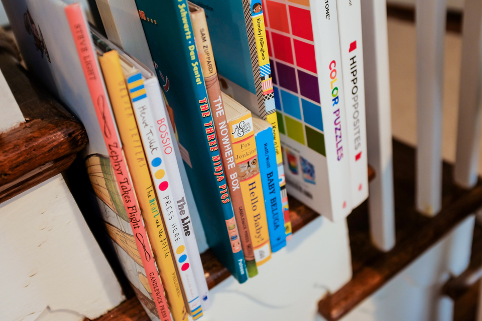 Children's books are all over the family's house, and reading is one of their favorite activities.