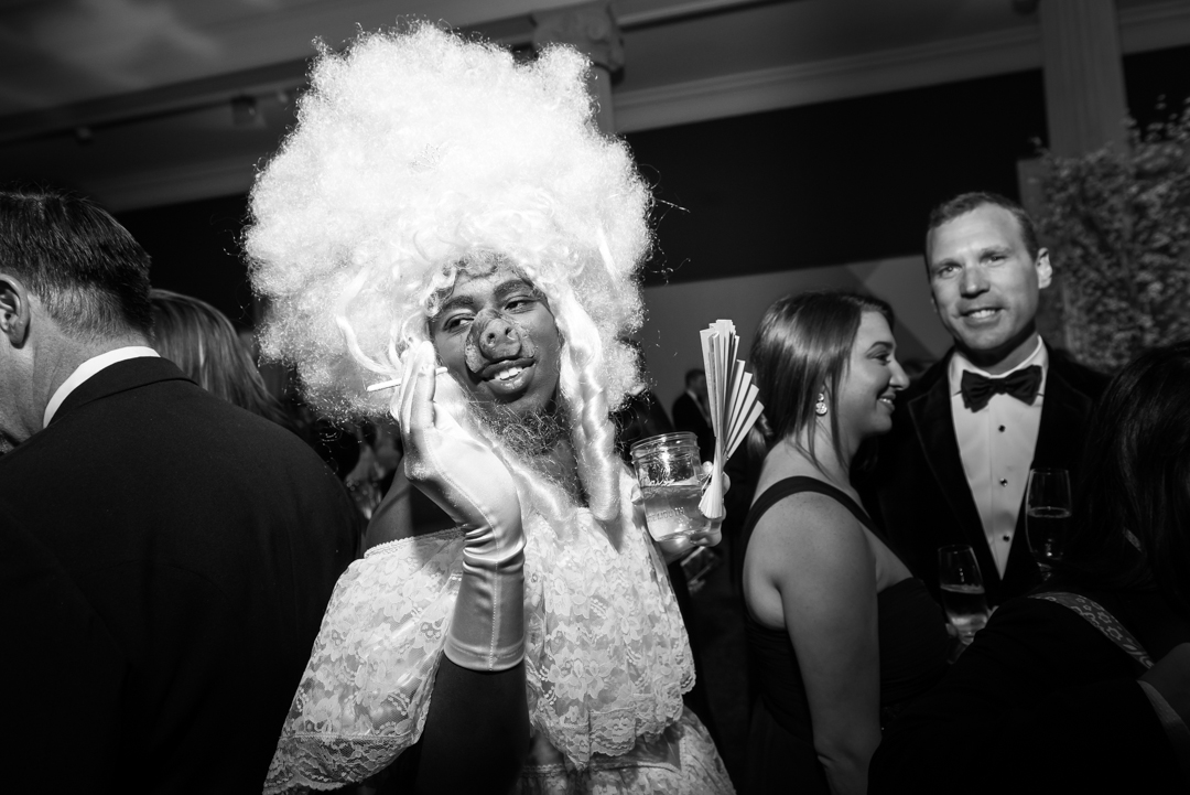 Performance artist Sheldon Scott of Animals & Fire makes his way through the crowd at the 2014 Corcoran Ball (Kate Warren for The Washington Post).