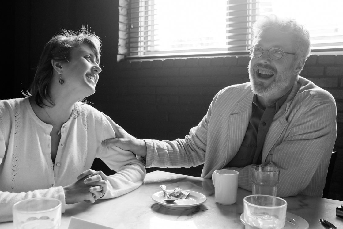 Nora Swift at her graduation brunch with her father Tom.