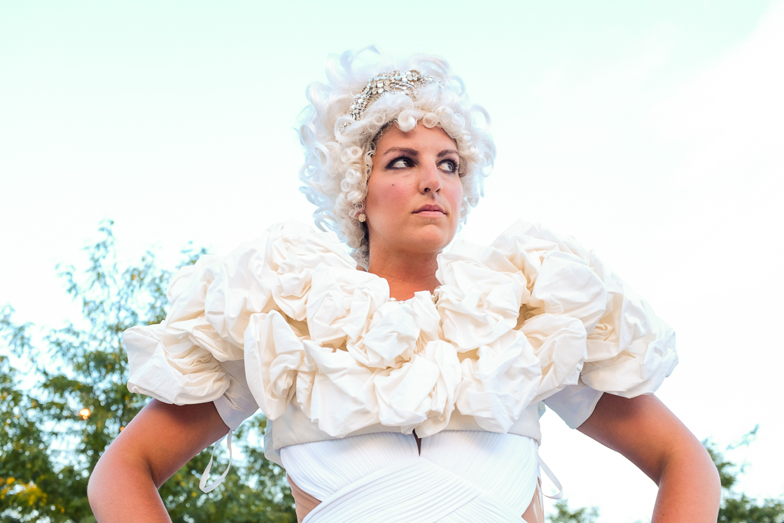 A wedding dress and Marie Antoinette wig proved to be one of the most dramatic looks of the evening.