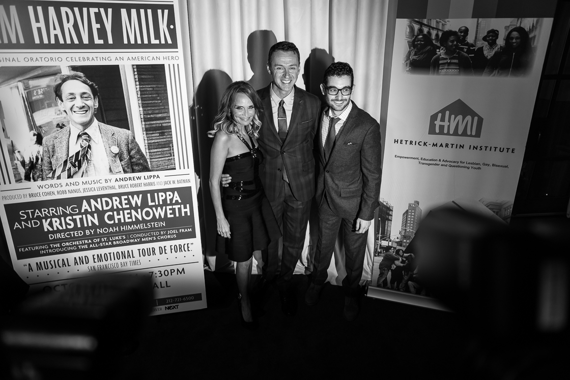 Kristin Chenoweth, Andrew Lippa, and director Noah Himmelstein at the ' am Harvey Milk' after party.