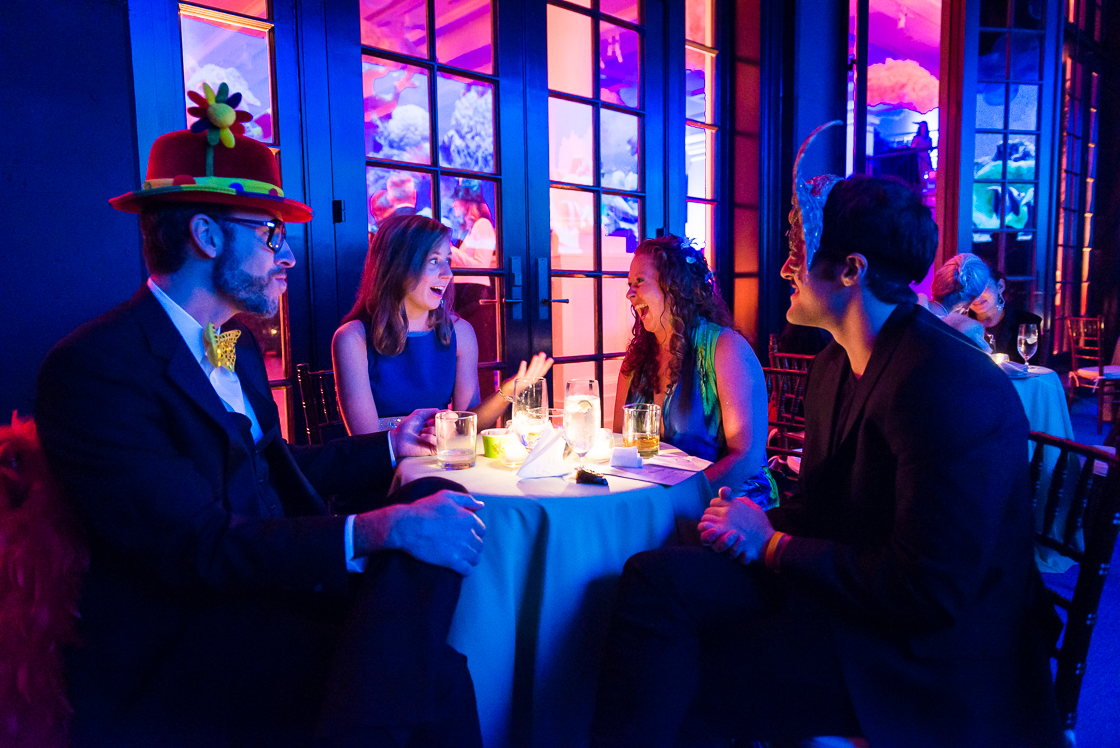 S&R Foundation fellow Ben Reich and guests Shanna Edwards,  Caroline Lee, and David Miller (from right) laugh at the surrealist party Night Nouveau on October 11. Fellows are awarded a grant and one year fellowship that includes 4 month residency at the mansion to work on their social entrepreneurship projects.