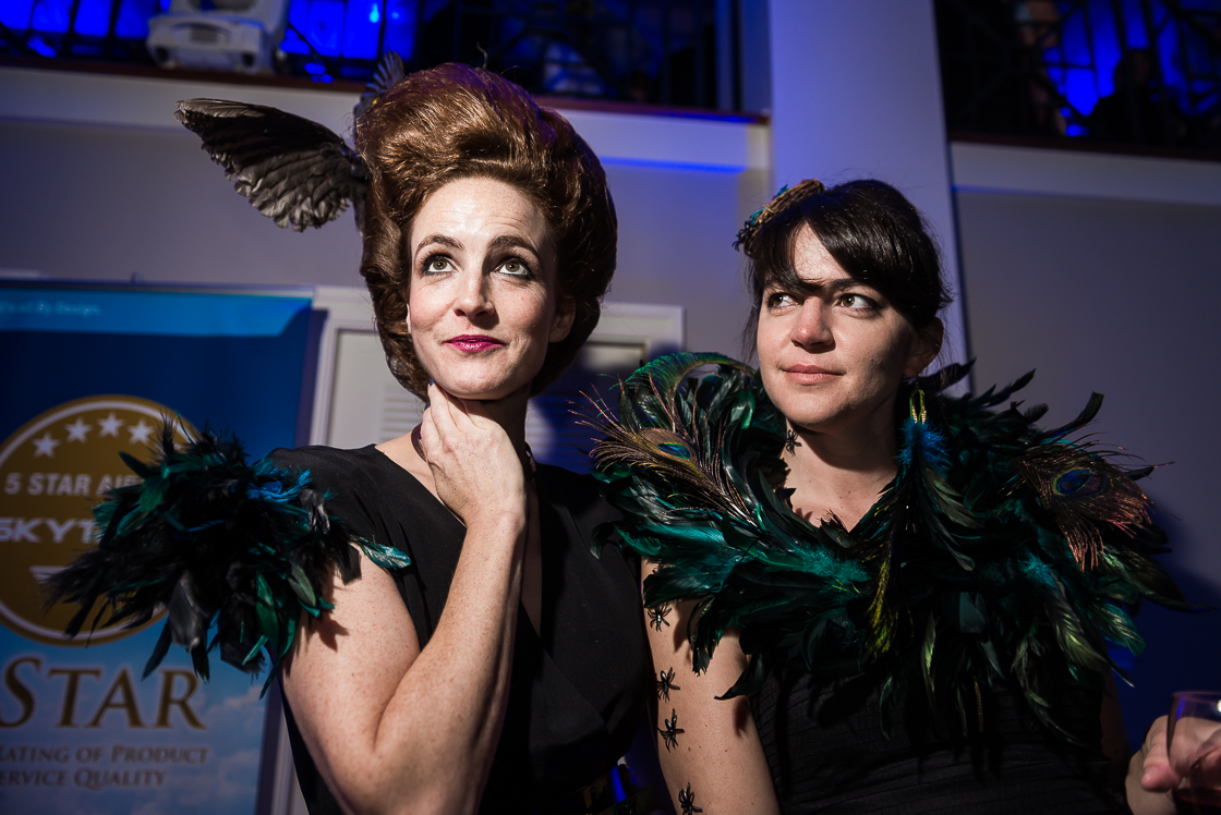 S&R Foundation COO Kate Goodall (left) and her friend Melissa B. sported serious aviary attire.