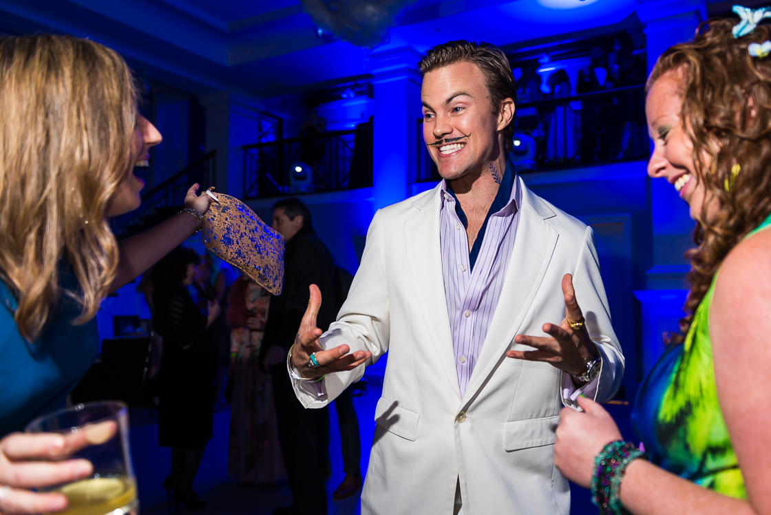 Doing his best young Dali impression, Austin Clemens of Seabourne entertained fellow guests
