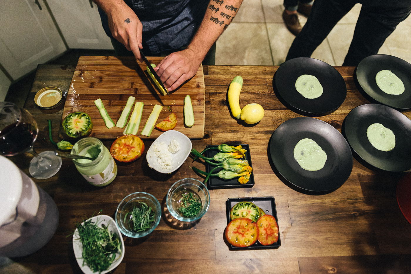 Stuffed zucchini blossoms were on the menu at our special Bar R photo shoot, which Ramsey prepares here in his kitchen.