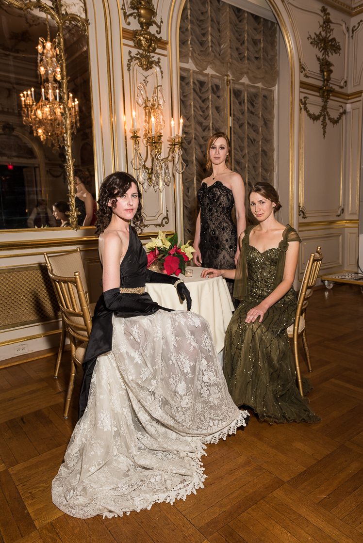 Countess  Anja von Kalinowski, Vasilissa Derugina, and Predislava Derugina (left, right, center) show off their beaded gowns at the annual Russian Ball on January 10. Predislava stood in as chairwoman for the evening.