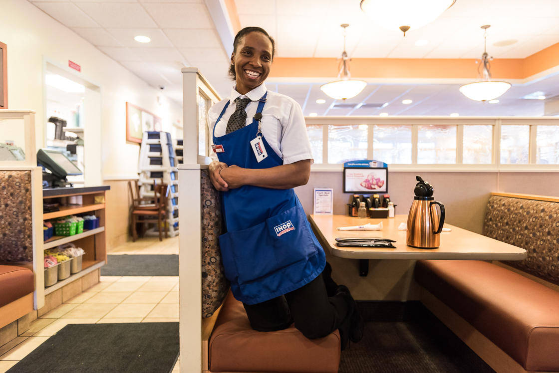 Pro middleweight boxer Tori Nelson, ranked #1 in the U.S. and #2 in the world, at work at IHOP. Like most female professional boxers, Nelson is forced to work a day job to support her family, since most lucrative sponsorships and endorsement deals are awarded to men or more 'feminine' boxers.