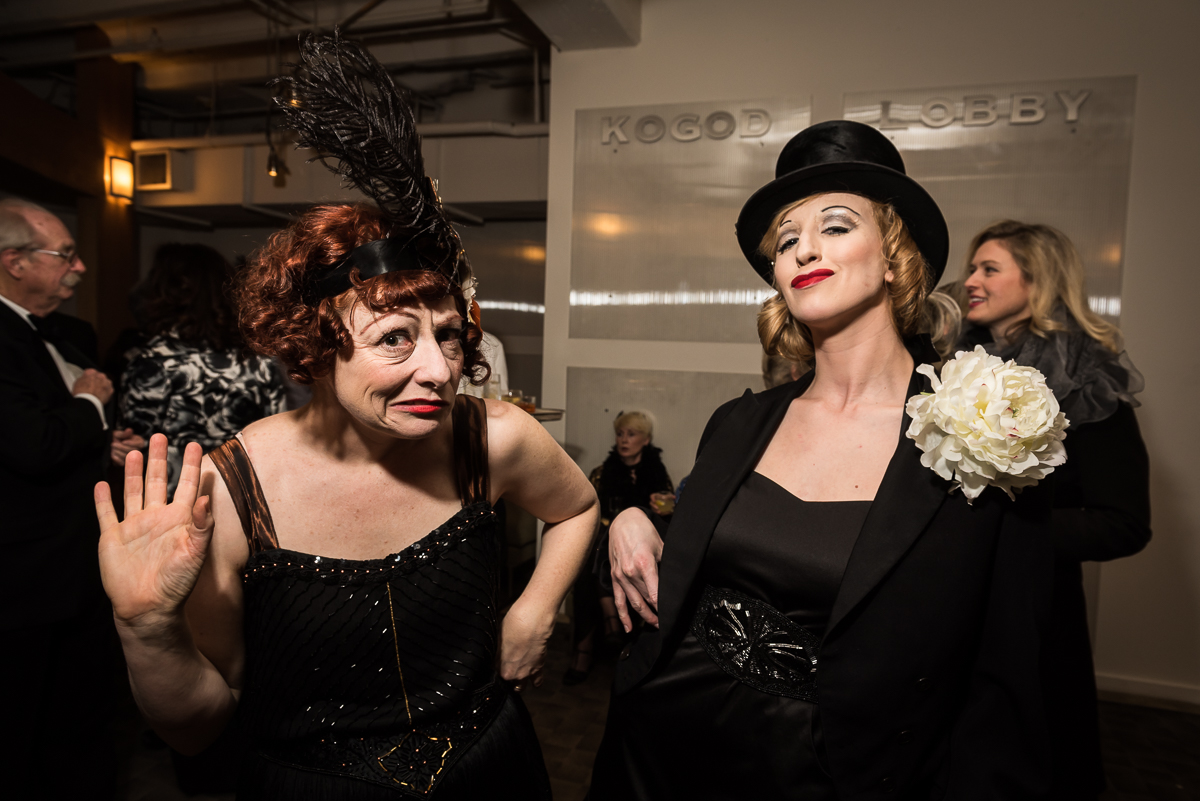 Sabrina Mandell (left) and Sarah Olmsted Thomas (right) of Happenstance Theater in 1920s character. Theater events always tend to have more dramatic flair than the usual Washington gala, and this event provided no exception.