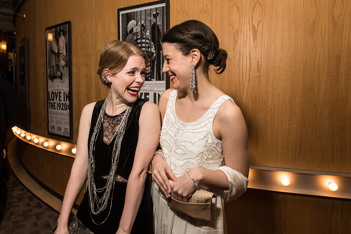 Actresses Sara Dabney Tisdale and Irene Sofia Lucio (from left) laugh together at the Studio Theater Gala on February 7. The two women are starring the Theater's production of 'Bad Jews', which closes next week.