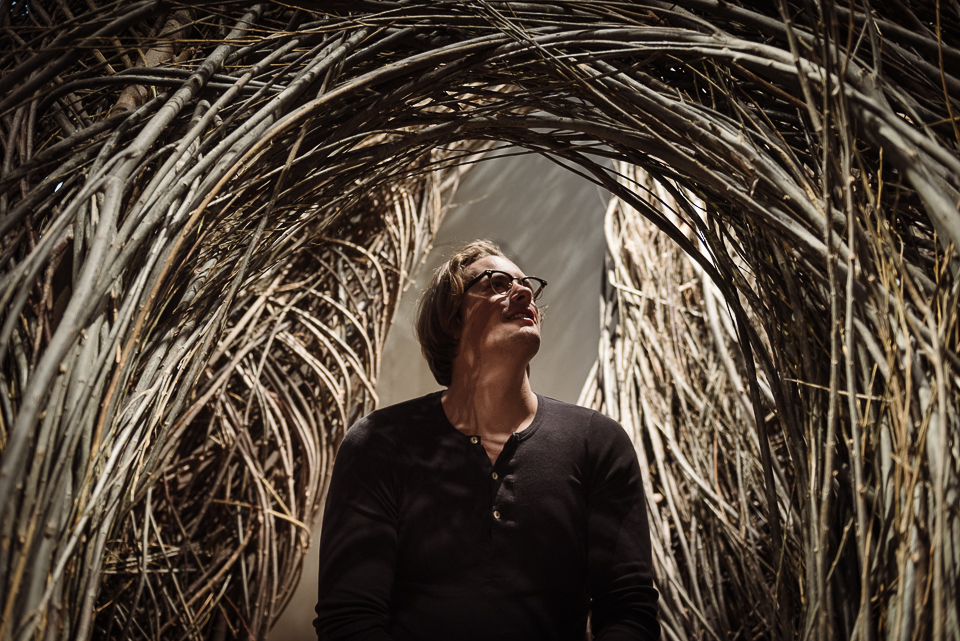 Wandering through Patrick Dougherty's installation, which felt like a magic space.
