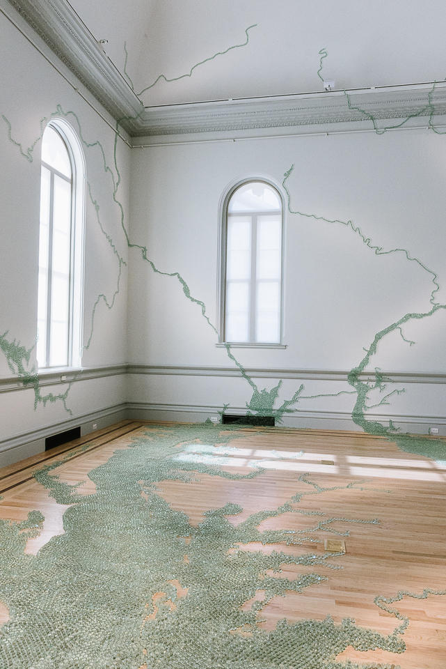 Maya Lin used a forgotten glassblowing technique to create the marbles used to construct this map of the Chesapeake Bay tides.