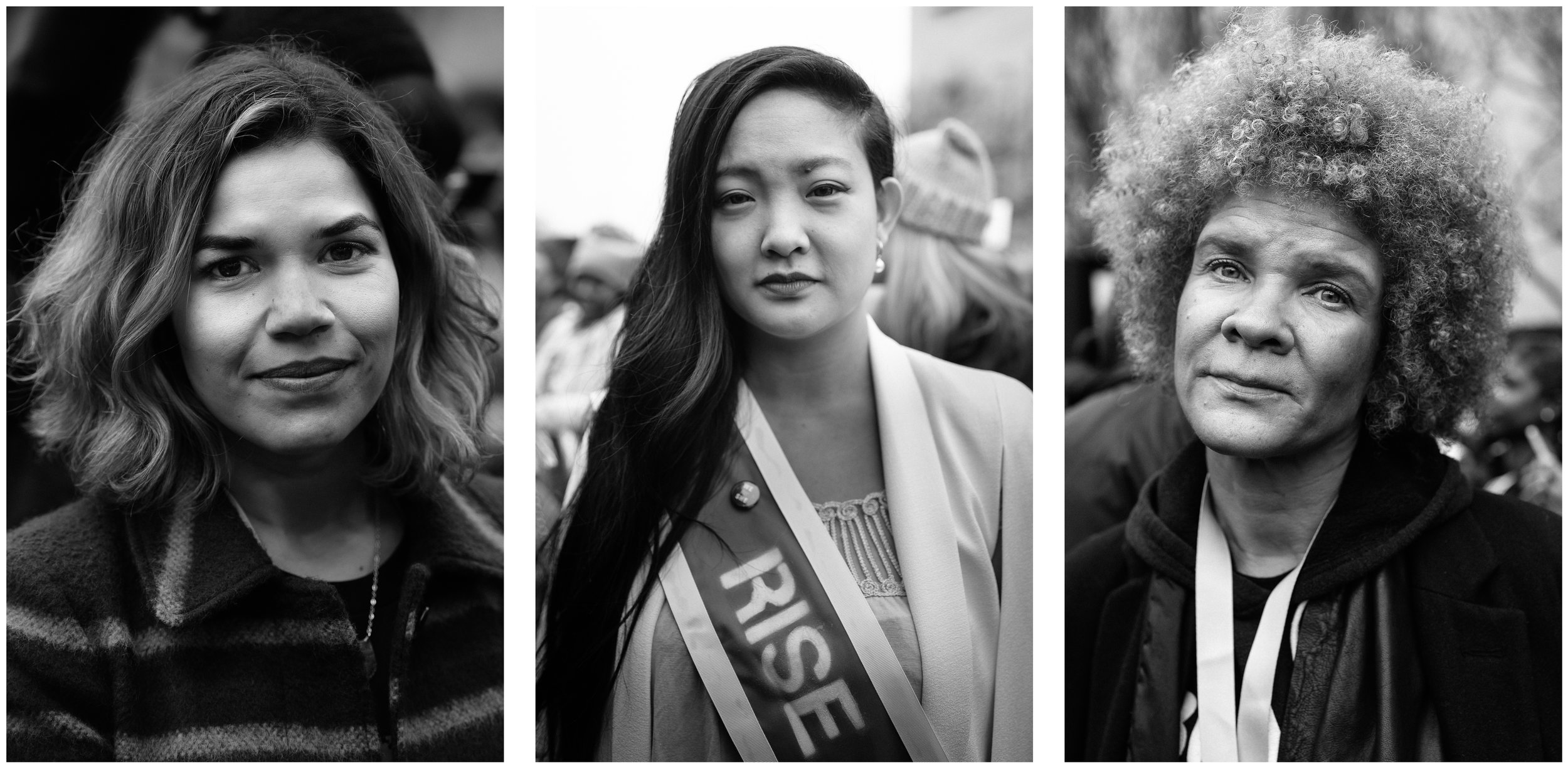 Actress America Ferrera, Rise founder Amanda Nguyen, and activist Angela Davis at the 2017 Women's March on Washington.