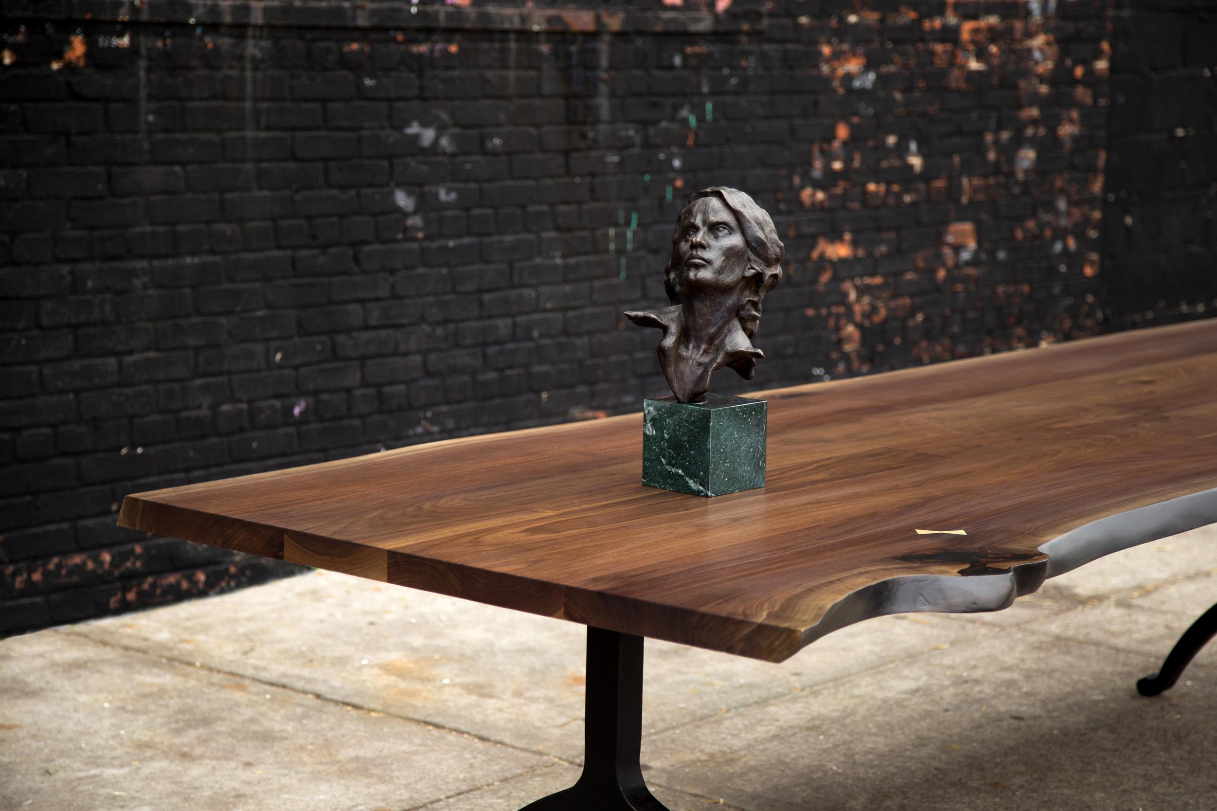 Signature Live Edge Table, Walnut Hardwood + Blackened Steel Wishbone Legs