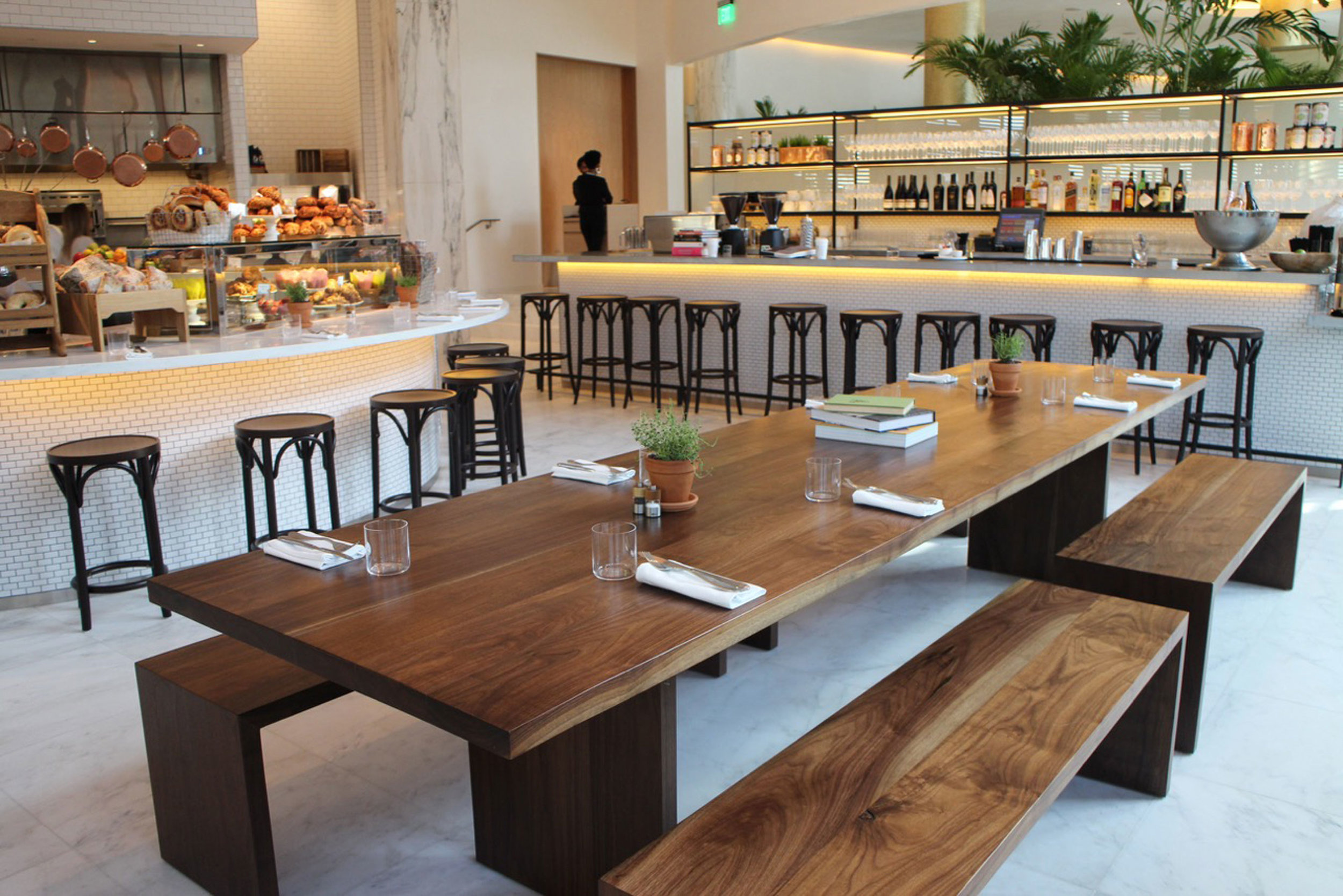 Walnut Communal Table at Miami Edition Restaurant