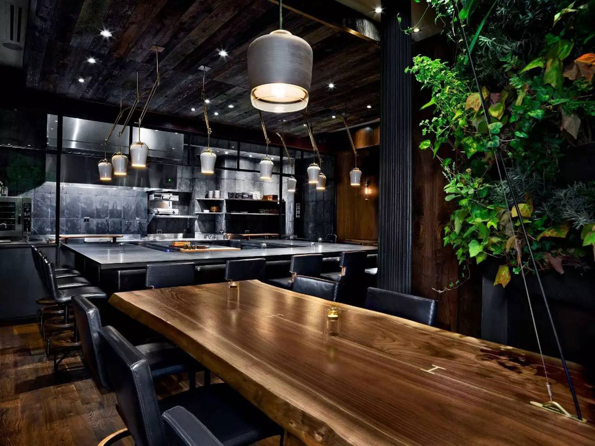 Black Walnut Live Edge Table at Atera Restaurant by Sentient Furniture