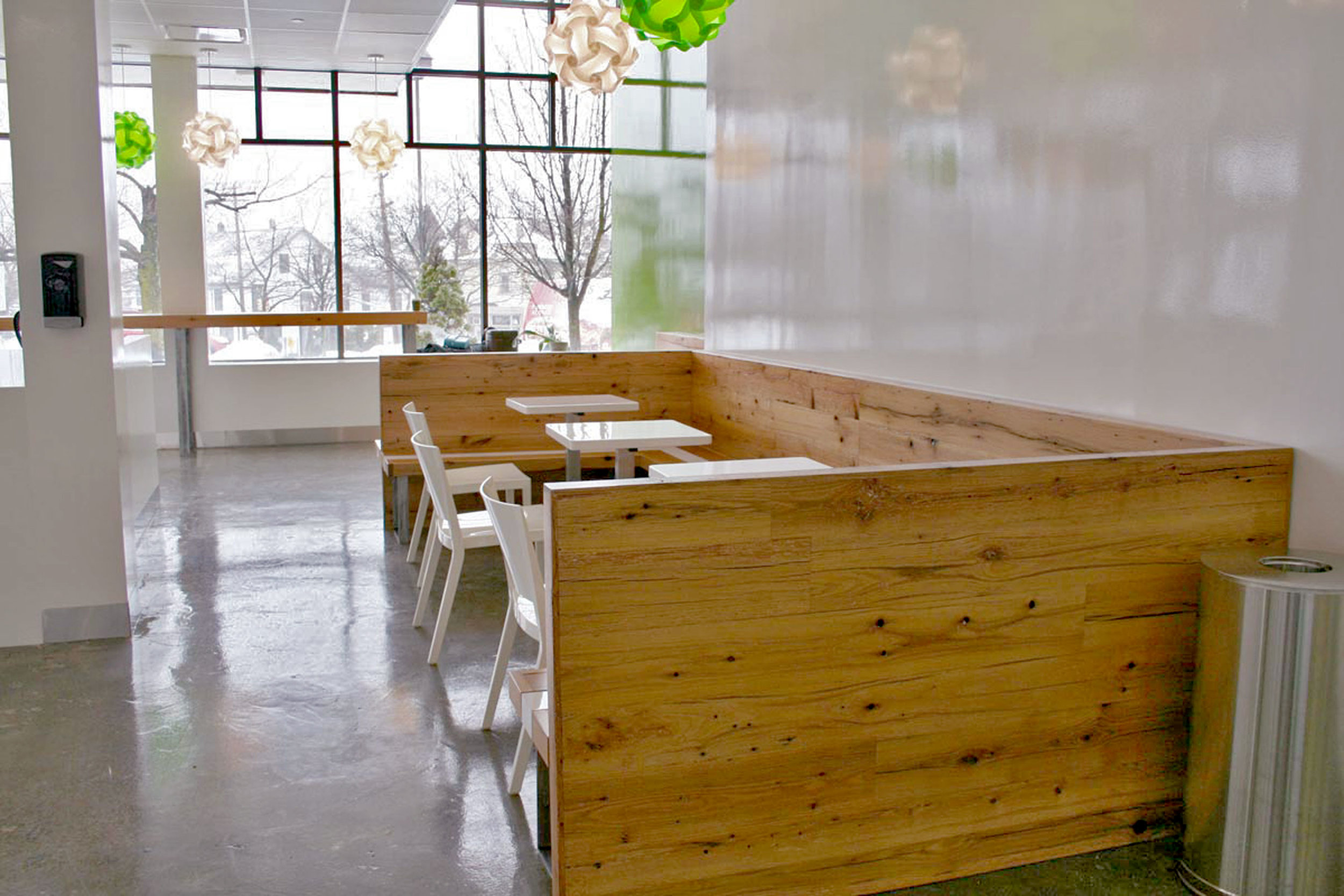 Reclaimed Oak banquettes at Go Greenly Yogurt by Sentient Furniture