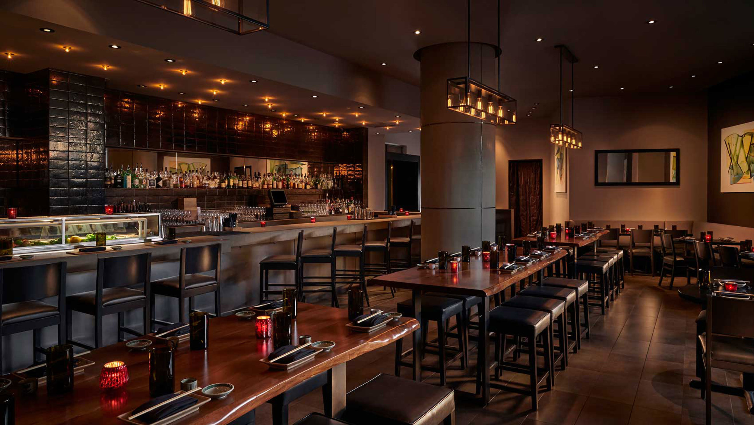 Black Walnut Live Edge Tables at Zentan at Donovan Hotel in Washington, DC by Sentient Furniture