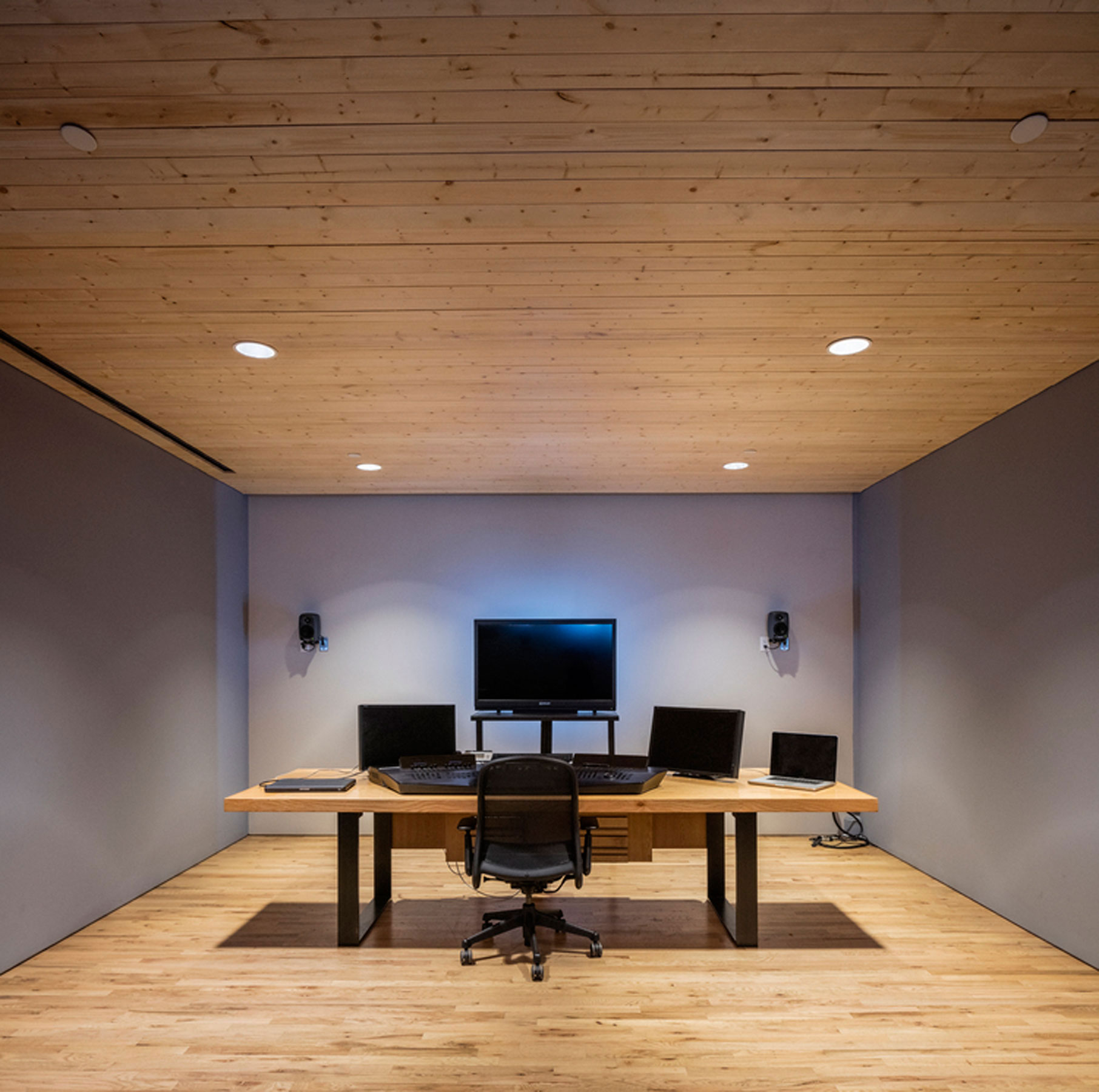 White Oak Editing Bay for MPC New York Offices by Sentient Furniture