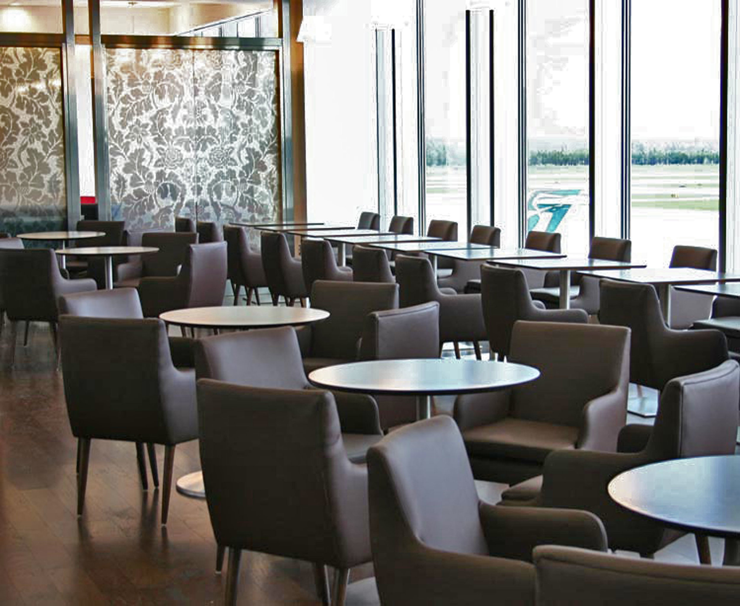 Furniture and Millwork at British Airways First Class Lounge Dulles Airport in Washington DC by Sentient Furniture