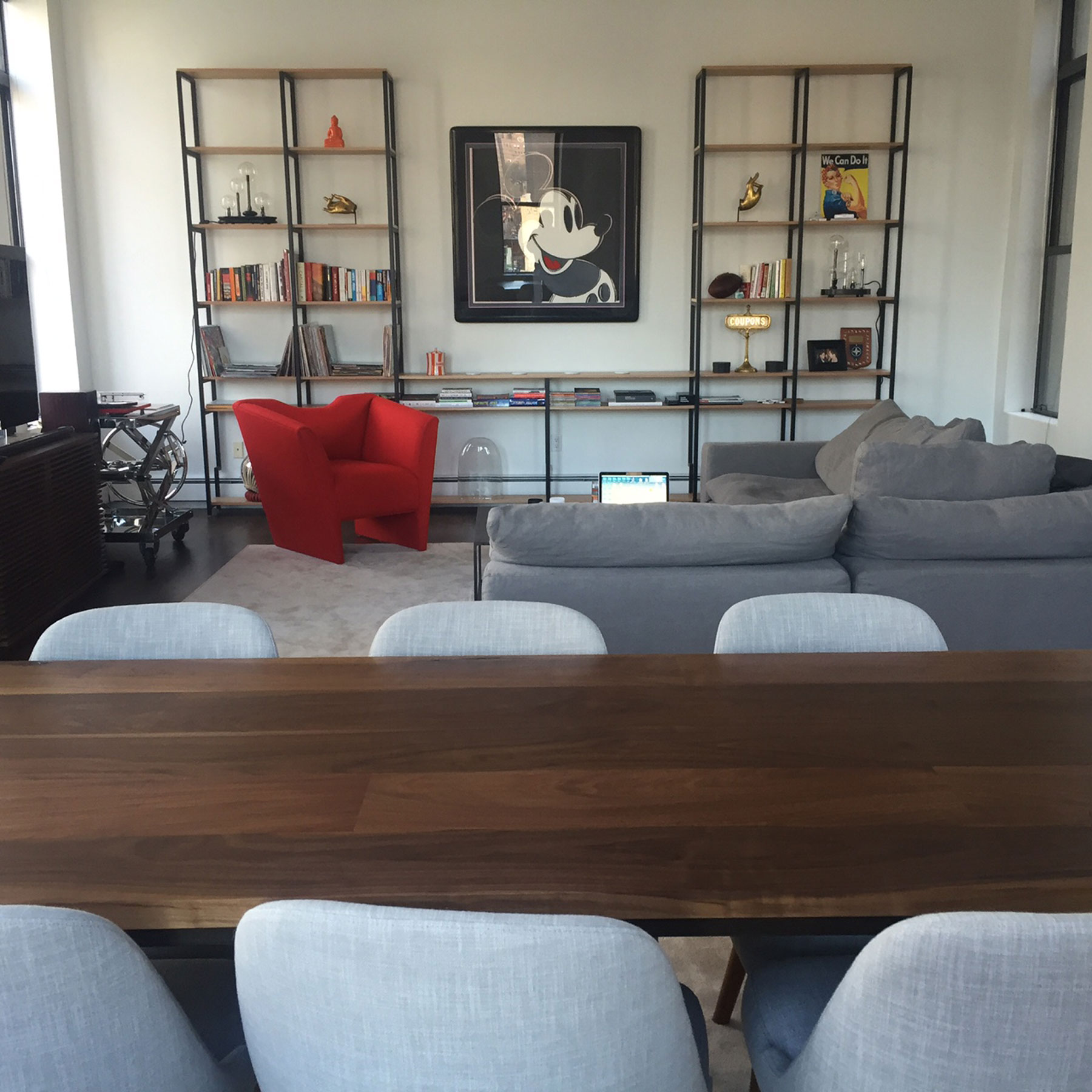 Custom Walnut Dining Table, Shelving and Lounge Chair by SentientCustom Shelving and Lounge Chair by Sentient
