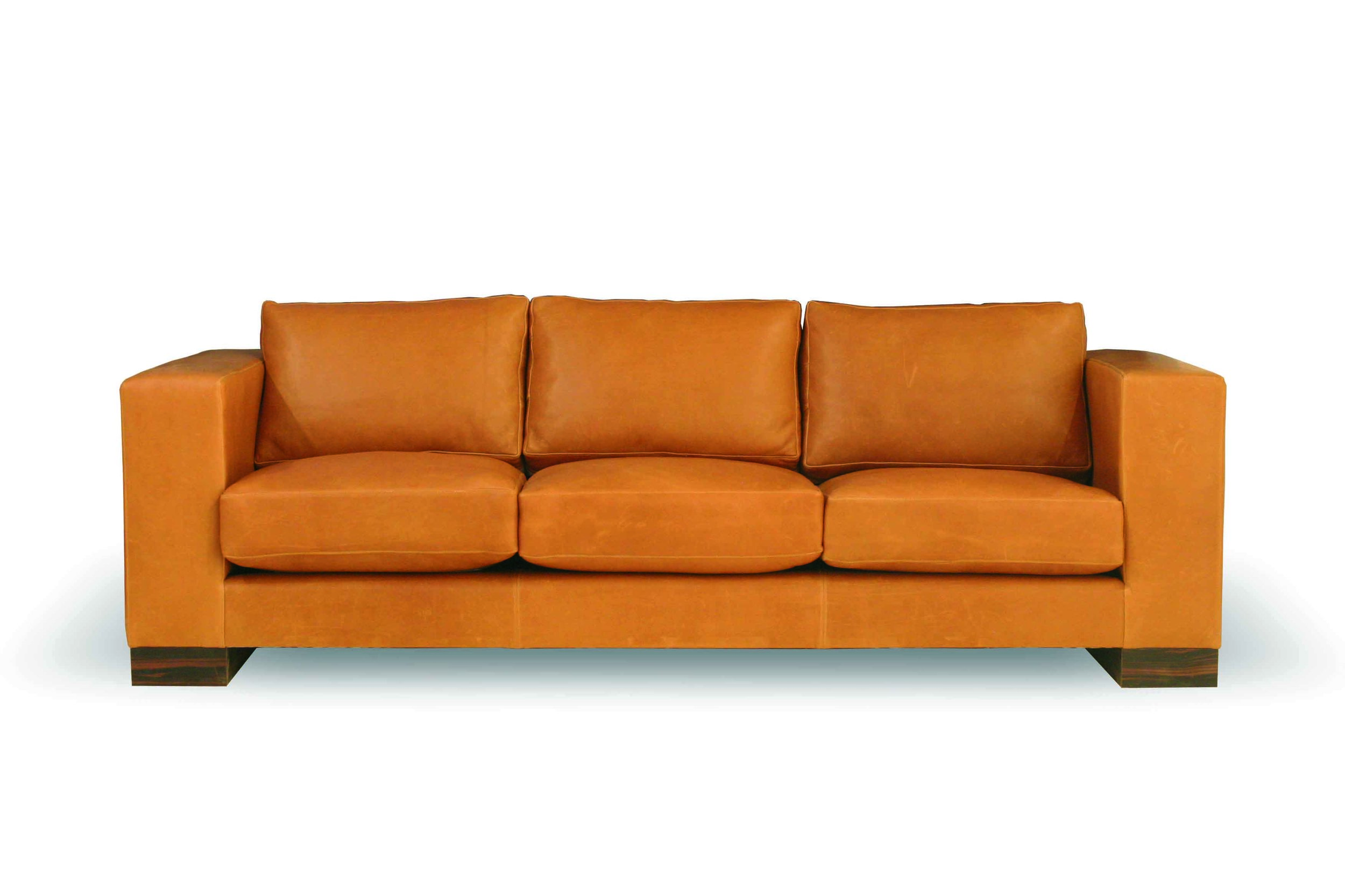 Custom Large Leather Sofa with Pillows