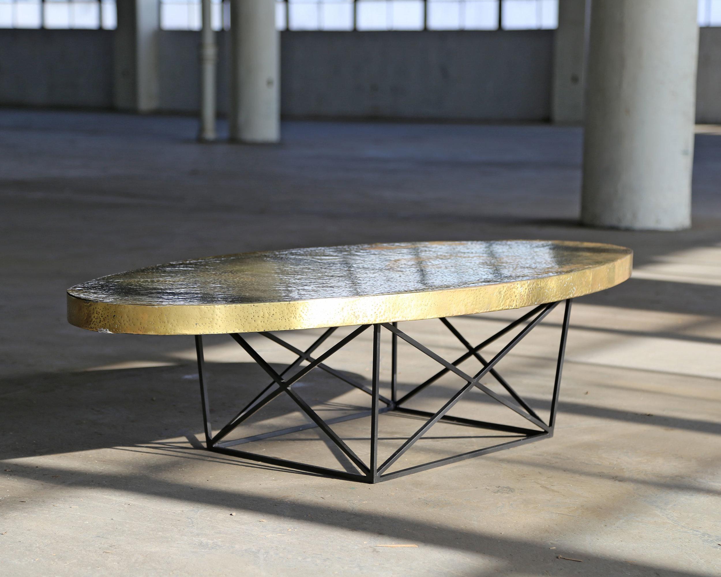 Hammered Brass Pedestal Table