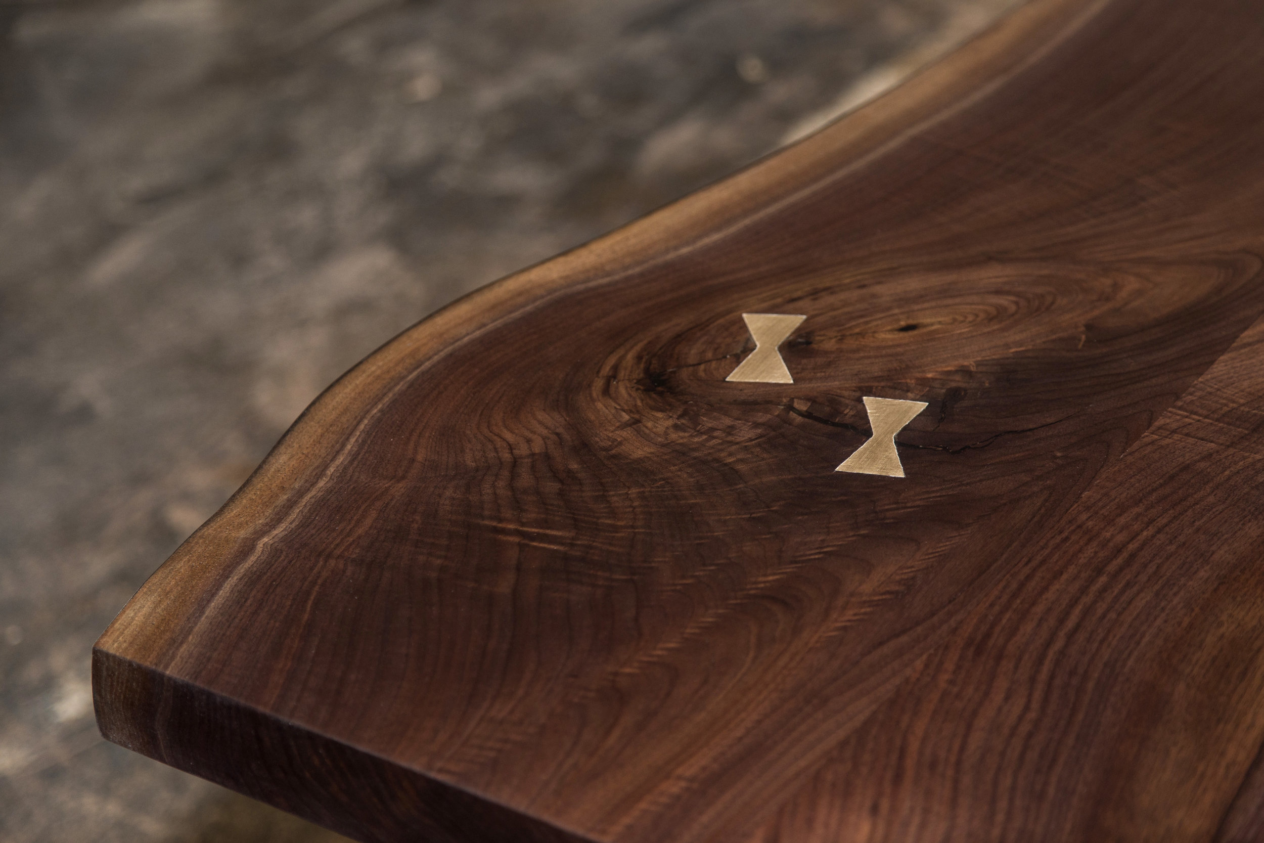 Sentient American Black Walnut Live Edge Table with Brass Butterflies