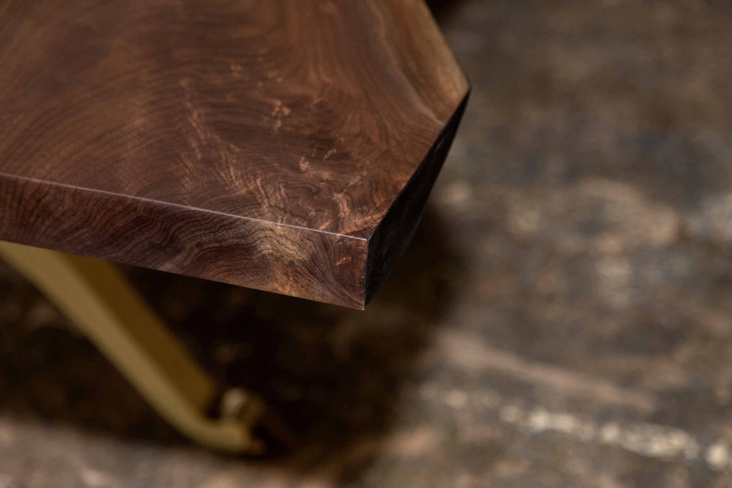 Sentient Signature Live Edge American Black Walnut Table with Brass Wishbone Legs