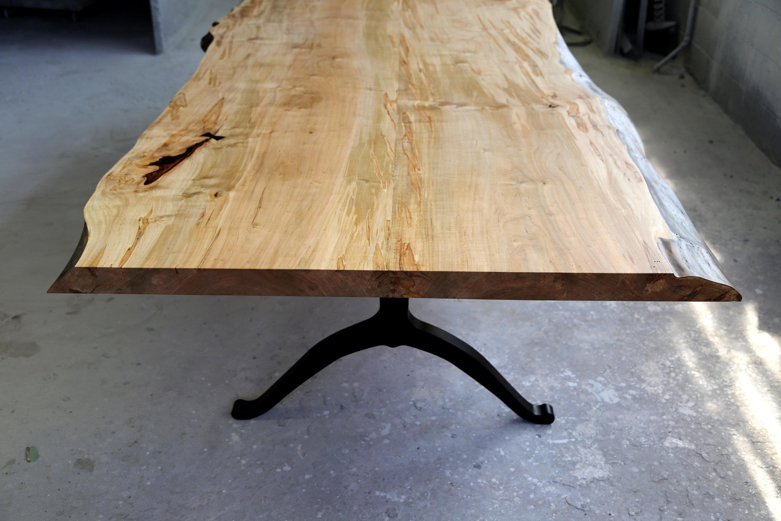 SENTIENT Ambrosia Maple Live Edge Table with Blackened Steel Wishbone Legs