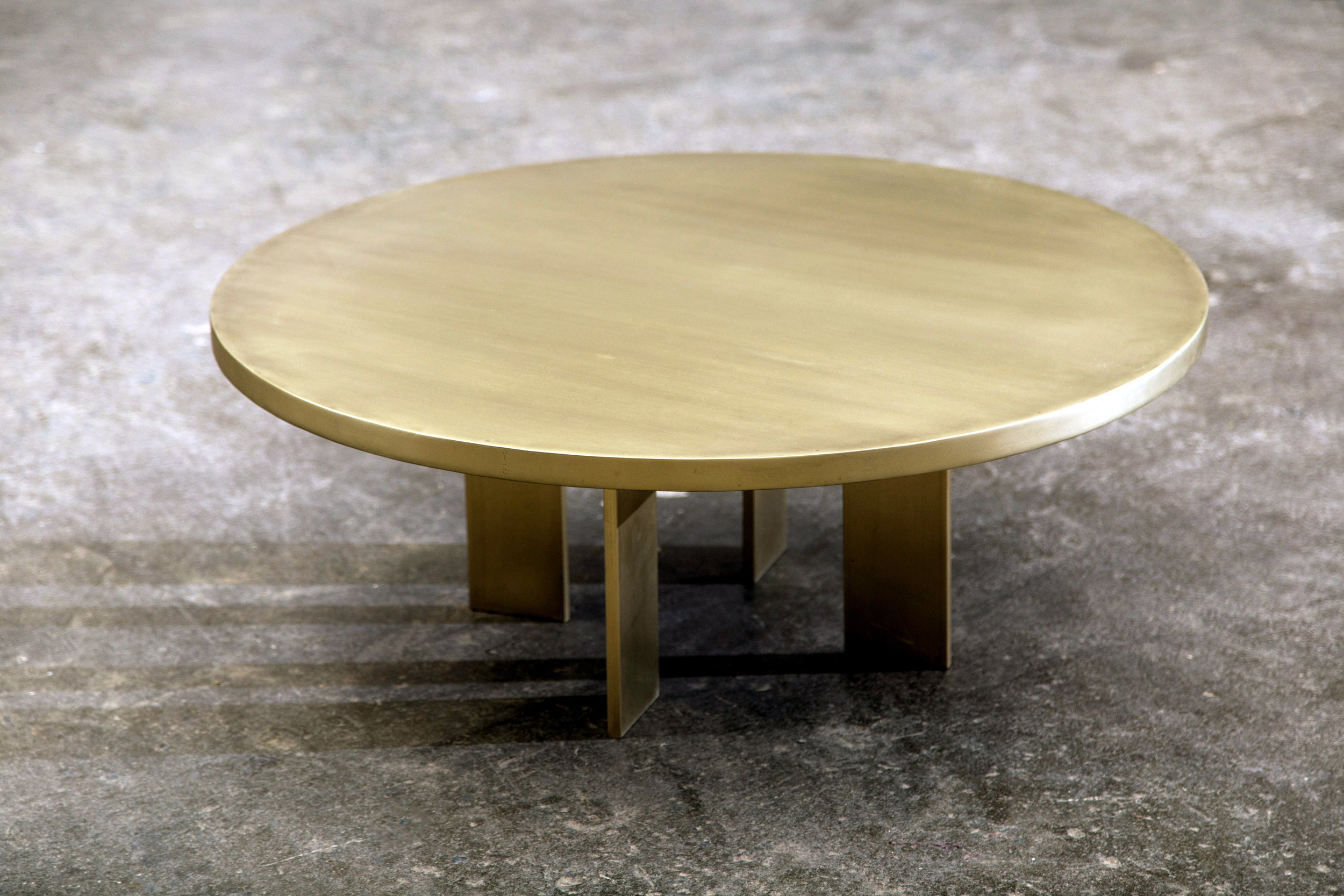 Custom Brushed Brass Round Coffee Table