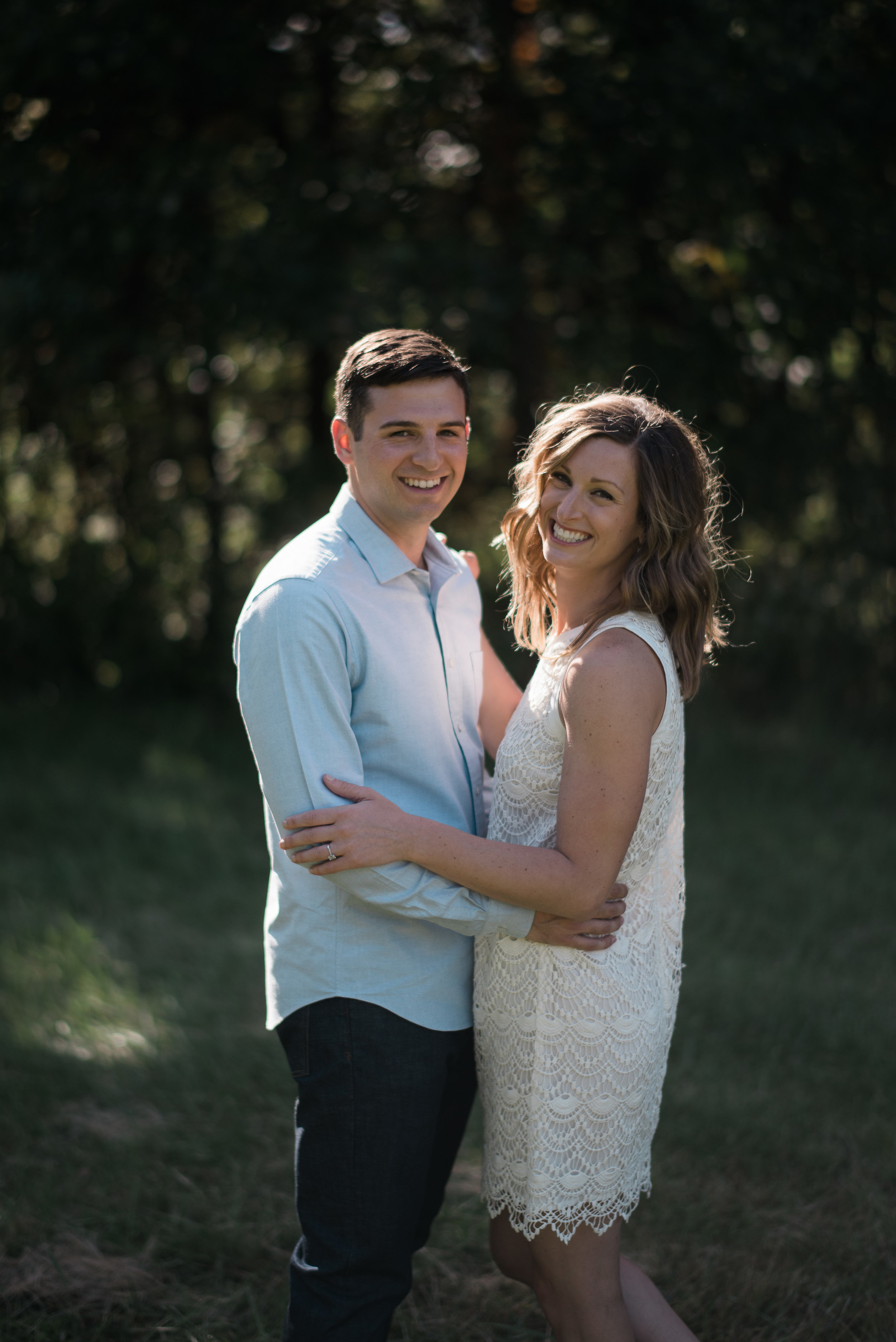 Wooded forest engagement portrait session in Kansas City.