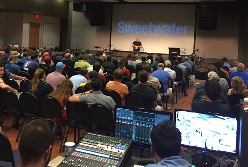 Mark Teaching a workshop at Sweetwater for gearfest 2016  Top Photo: Mark speaking at the Songwriting ACADEMY International CONFERENCE in London , Nov 2018