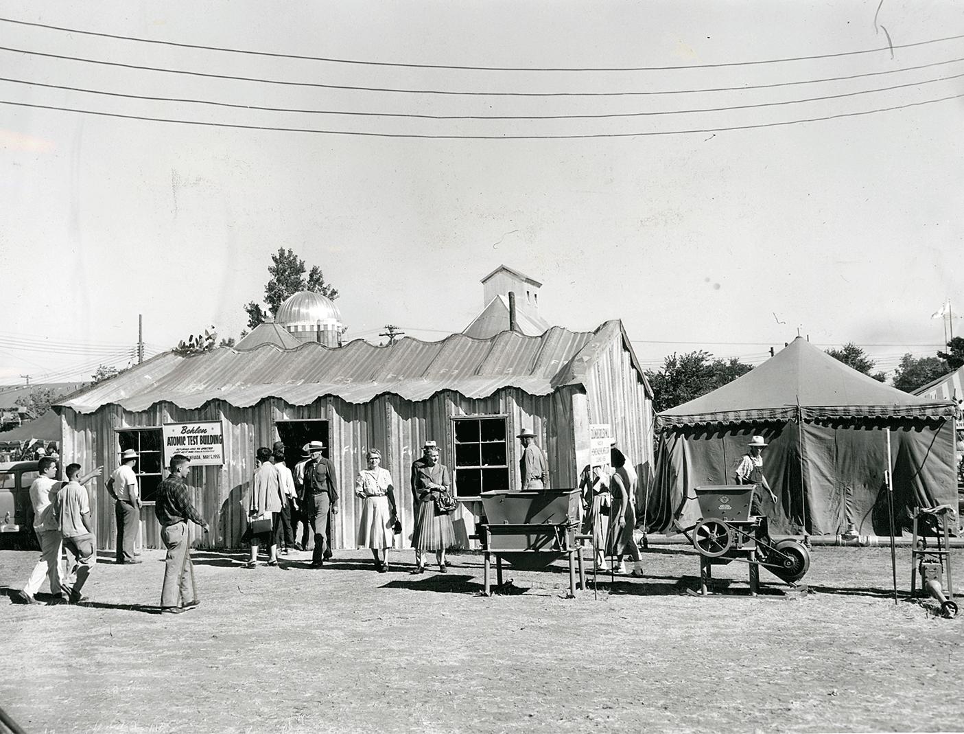 Image:  Behlen Manufacturing Atomic Test Building, on display at the Nebraska State Fair in 1955,   Nebraska State Historical Society
