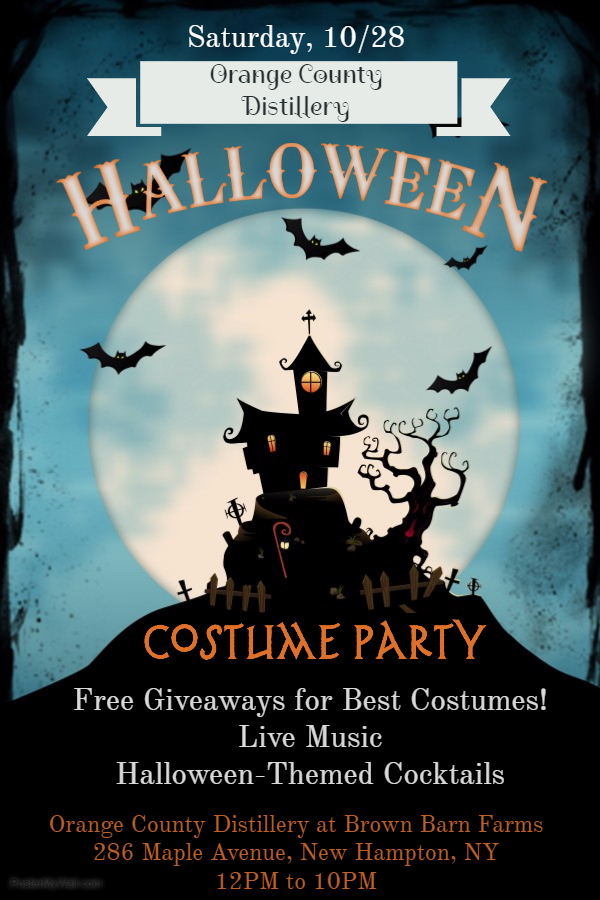 Celebrate Halloweeen with us this Saturday night at Brown Barn Farms! We'll be giving away free cocktails, bottles and other goodies to Best Costume winners, as voted on by our staff. We'll also have live music by Nick Morizzo and Halloween-Themed Cocktails! Don't feel like dressing up? No worries, you don't have to be dressed up to visit us. We're always open to the public.