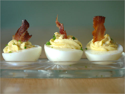 Curried Deviled Eggs with Golden Raisin & Bacon