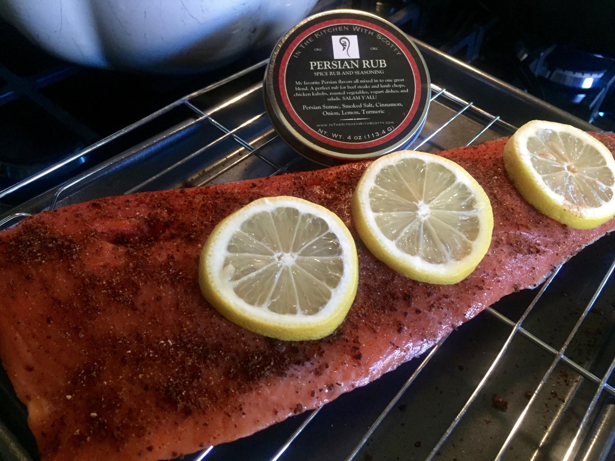 Roasted Salmon with my    Persian Rub
