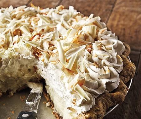 Mom's Coconut Cream Pie... I added the White Chocolate shavings
