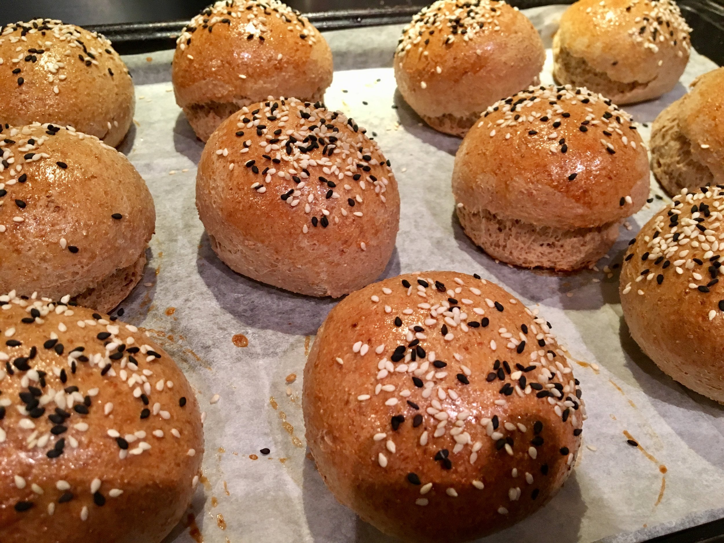 Whole Wheat Brioche Buns fresh out of the oven.