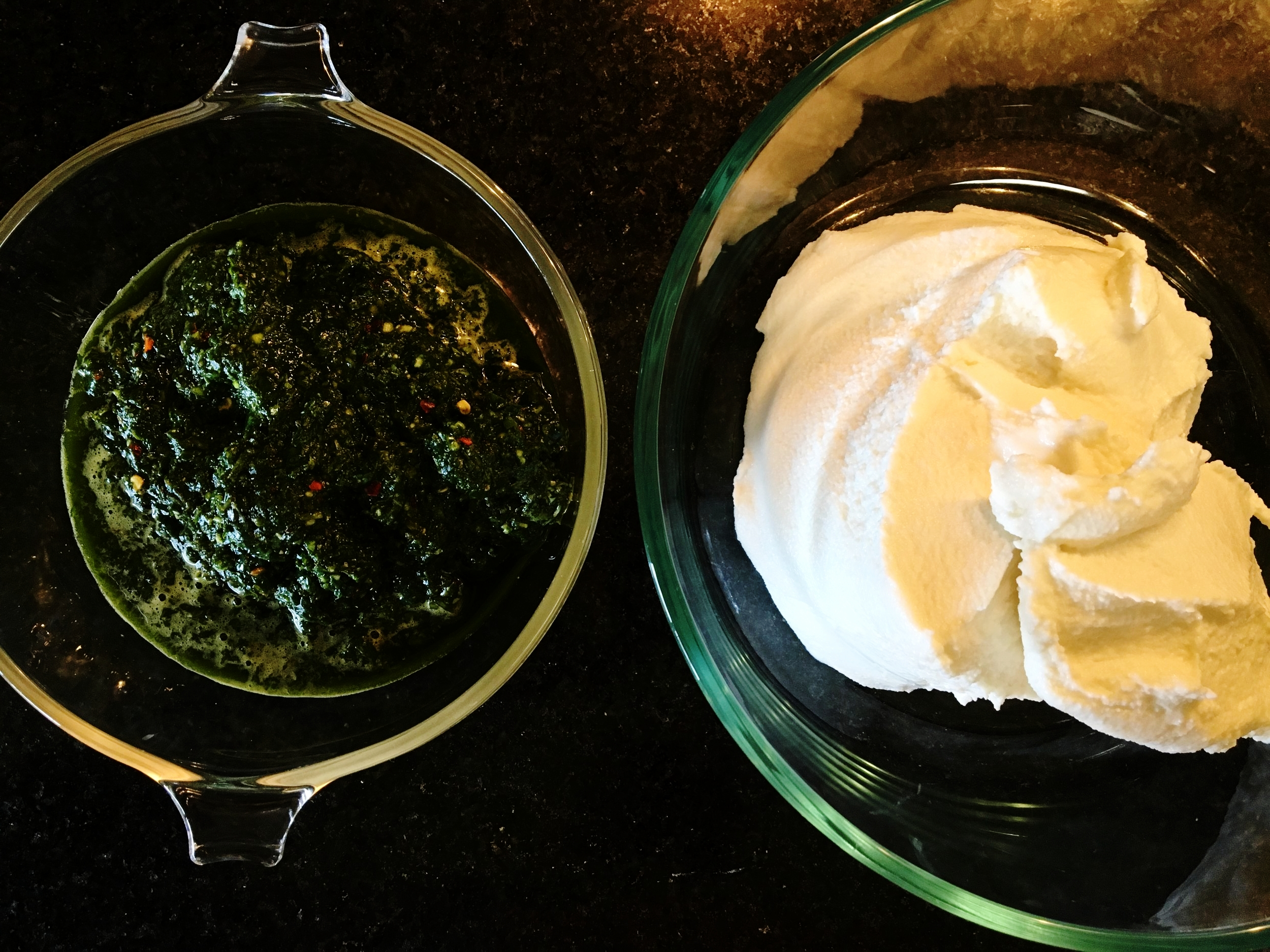 Basil and egg puree with the ricotta waiting to be mixed in.