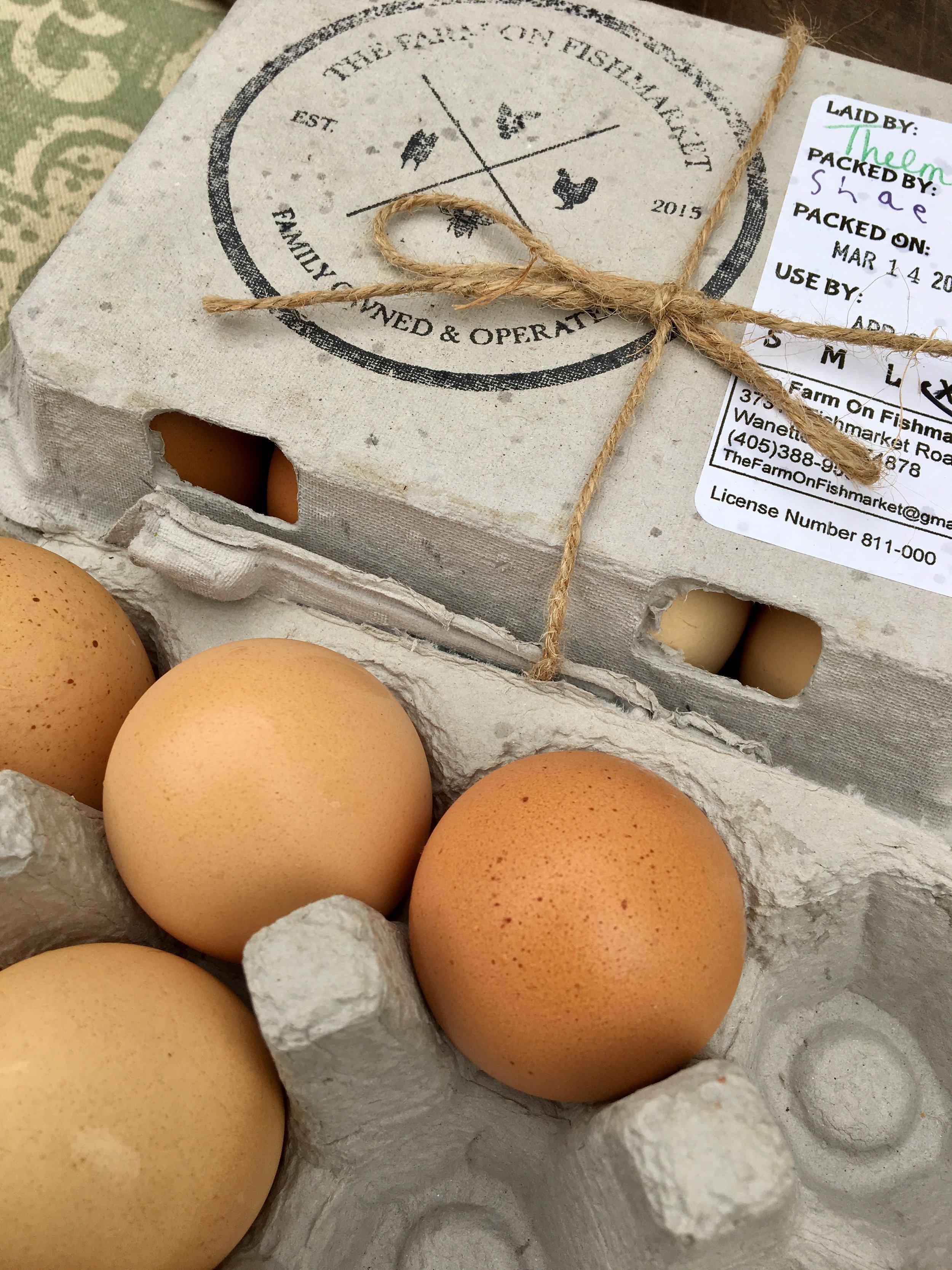 Fresh raised farm eggs from Oklahoma's own   The Farm On Fishmarket