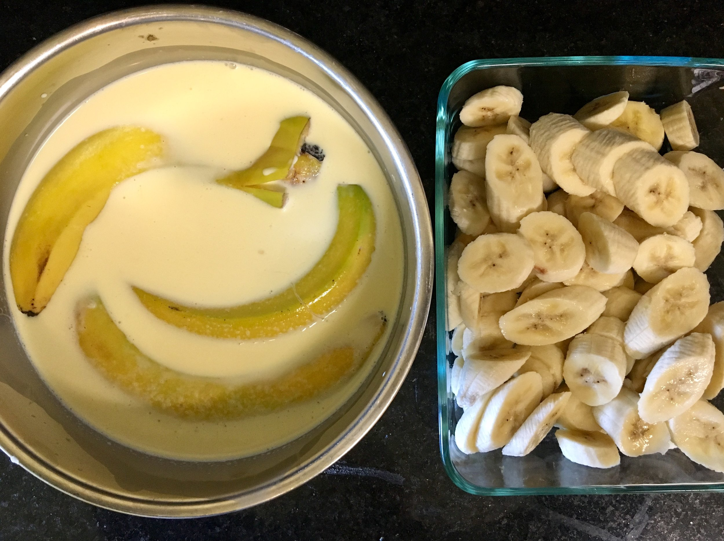 Infusing flavor from the banana peels into the half-n-half instead of imitation flavoring.