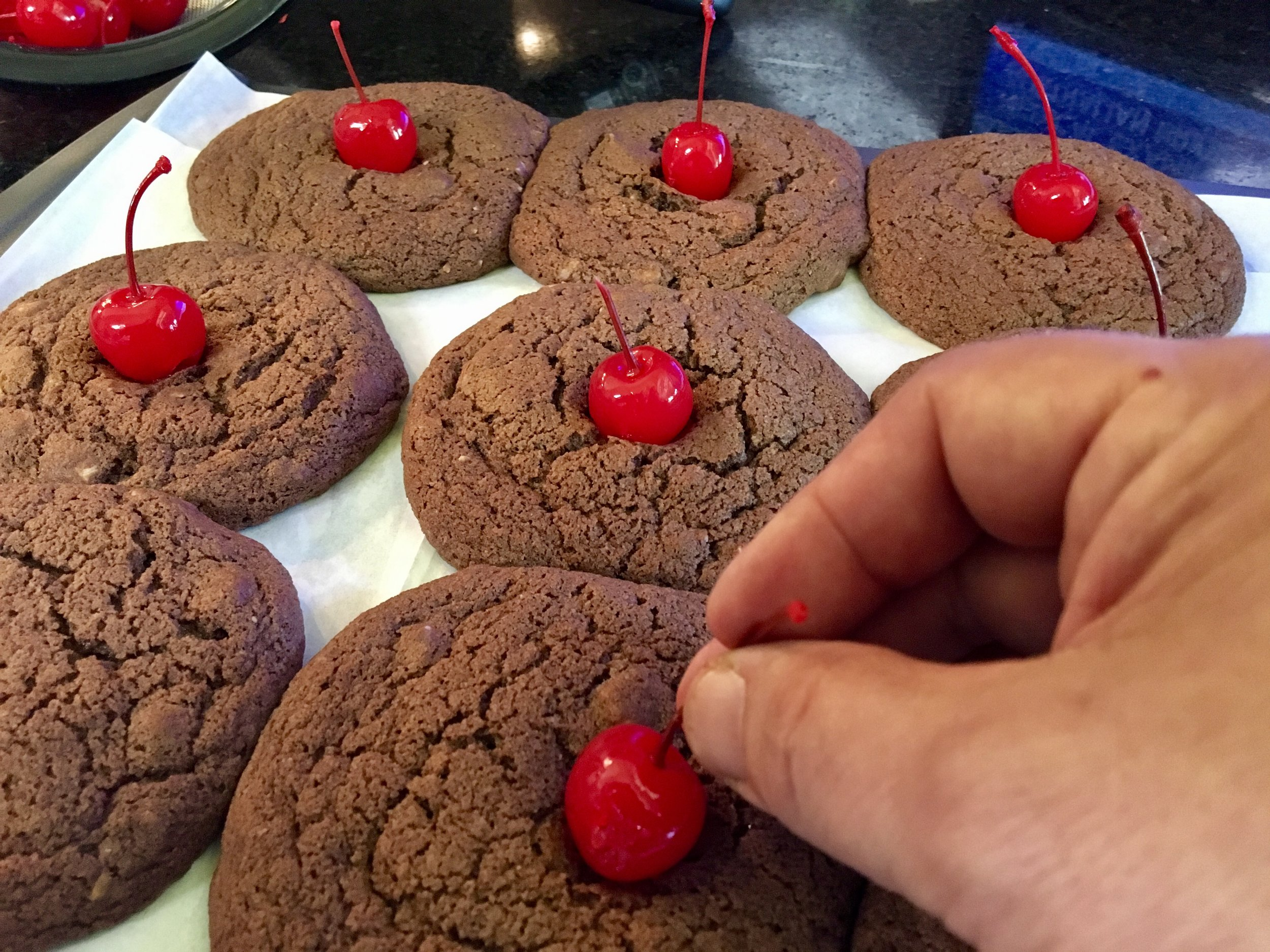 Fresh out of the oven and adding the cherries.