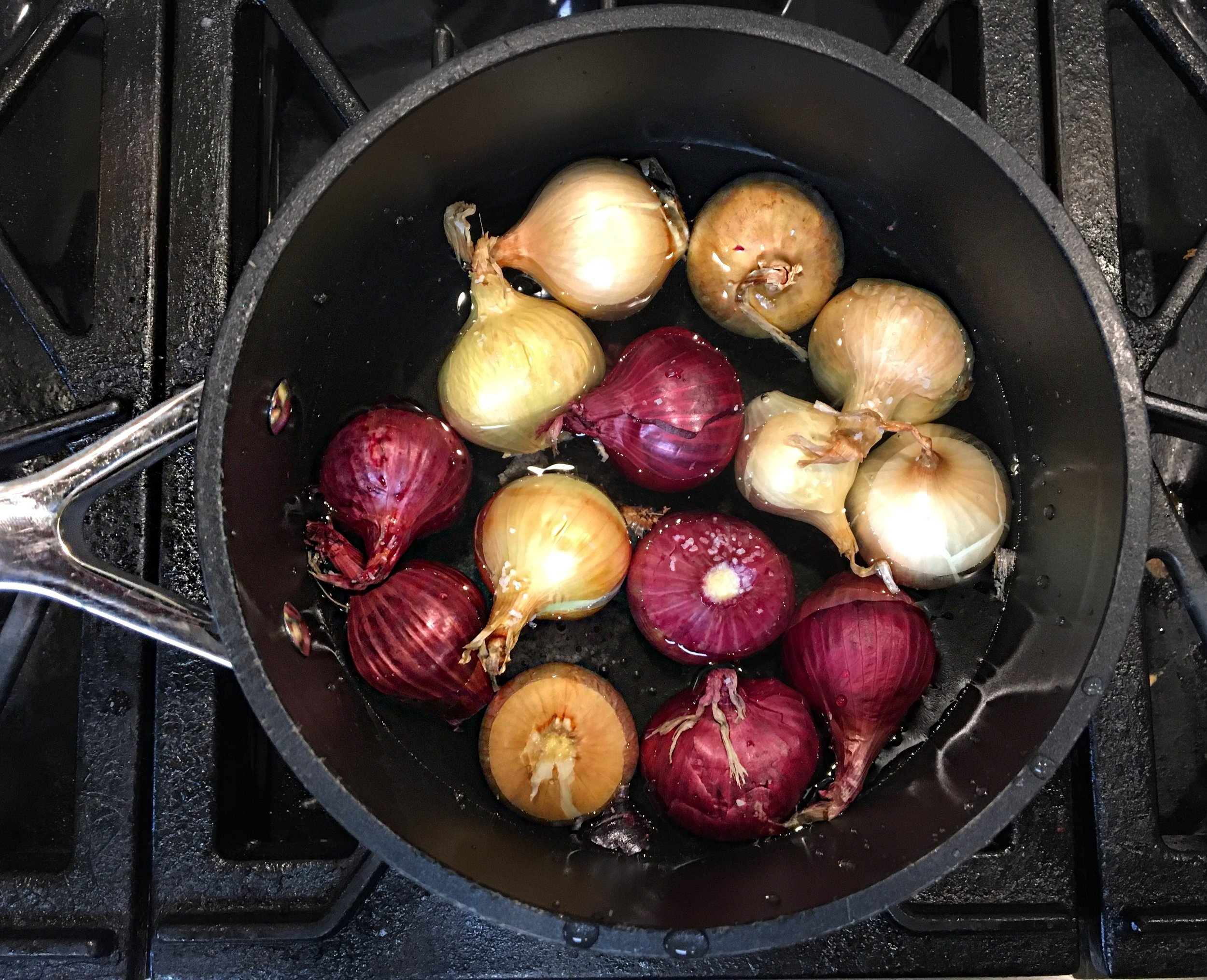 Blanching the boiler onions.