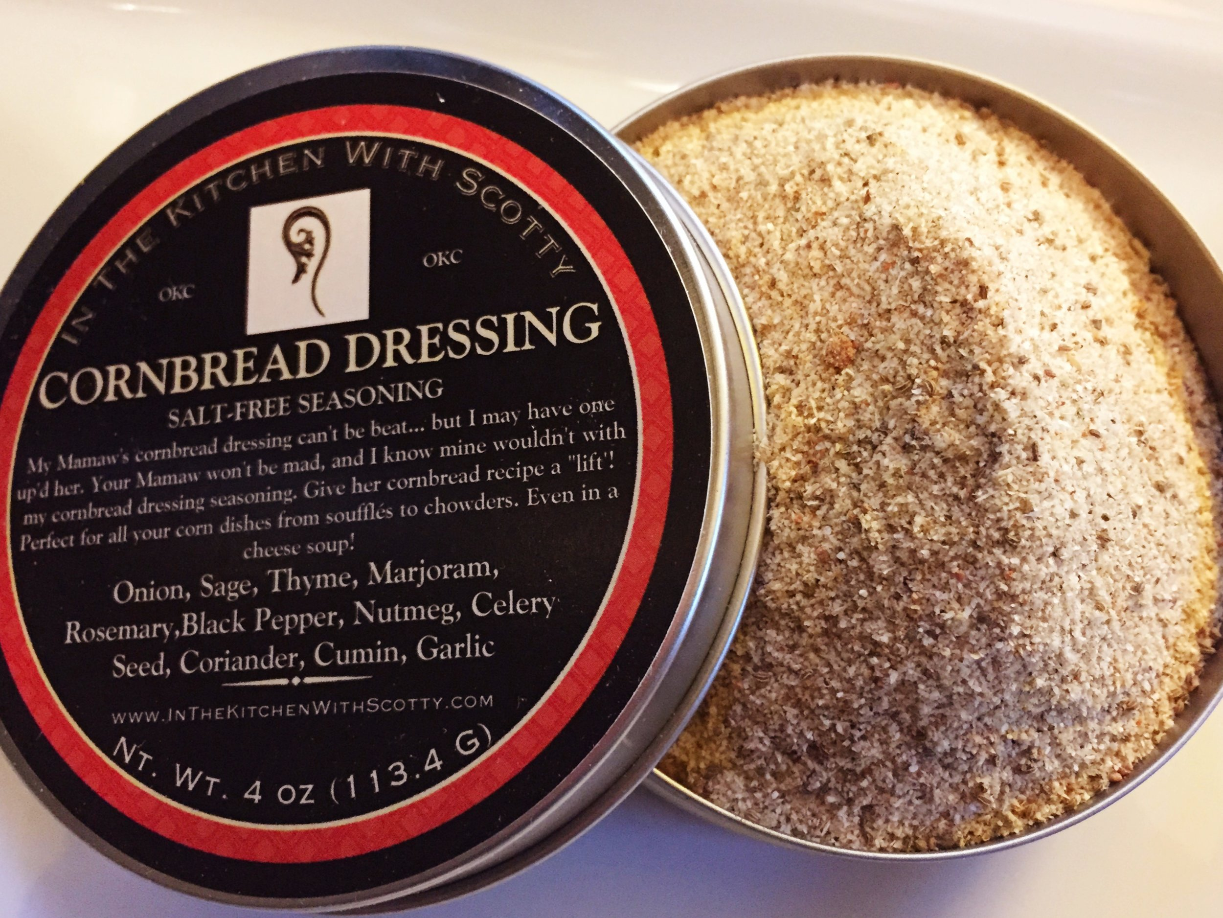 Delicious herbs and spices, including sage, celery seed,and nutmeg. Not just for cornbread dressing, and perfect for chowders!