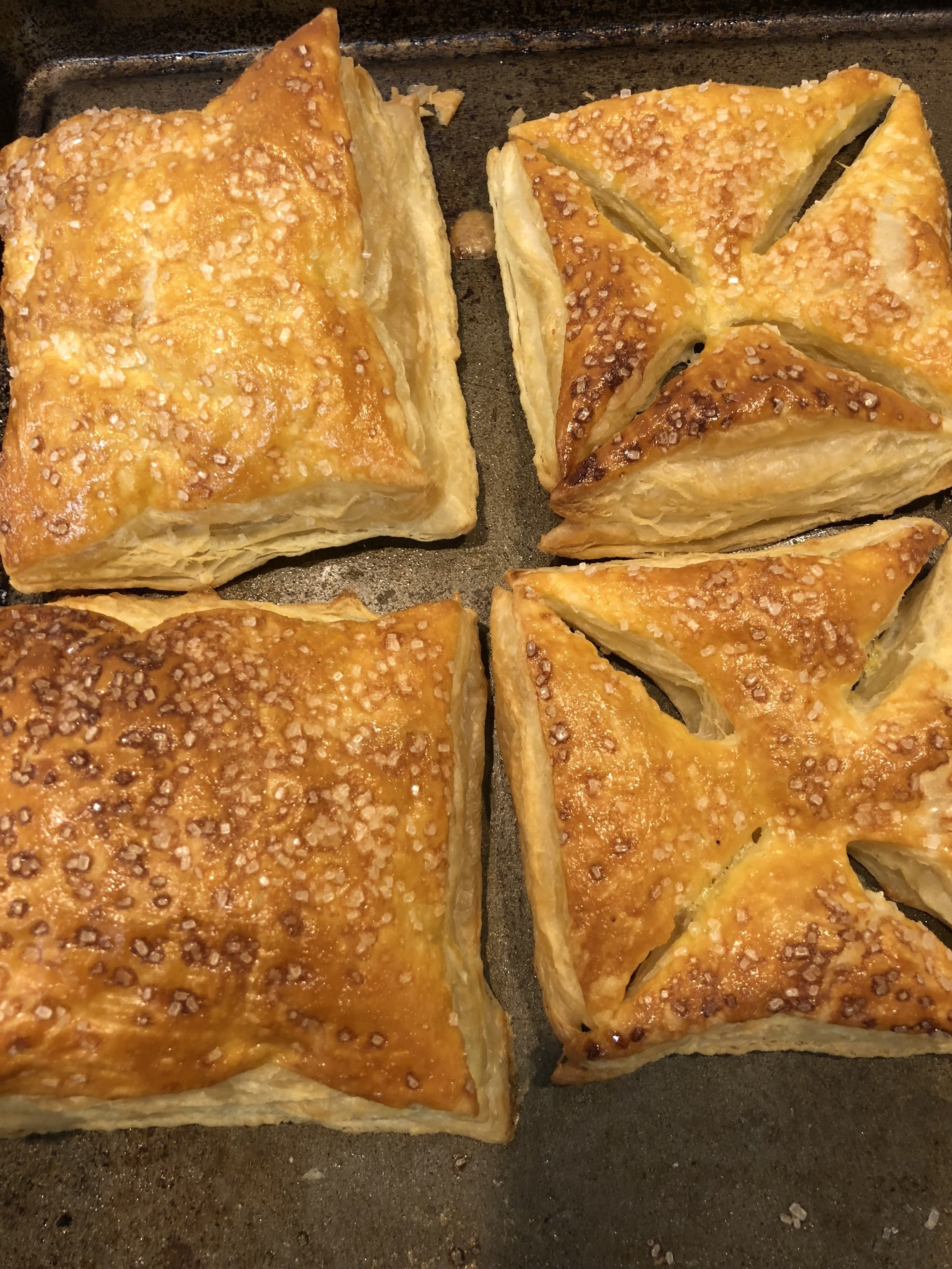 Baked puff pastry square